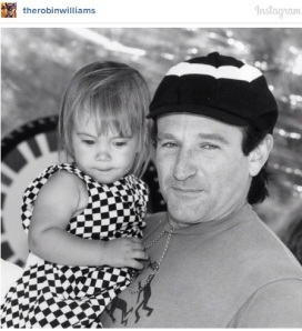 "Robin William's last Instagram photo, which he posted on July 31. The caption read: """"#tbt and Happy Birthday to Ms. Zelda Rae Williams! Quarter of a century old today but always my baby girl. Happy Birthday @zeldawilliams Love you!"""